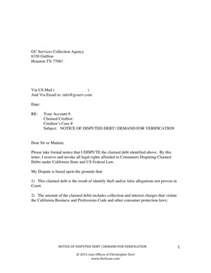 dispute letter to traffic ticket collection agency