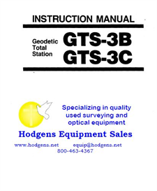 topcon instruction manual for geodetic total station gts-3b/3c