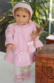 dollknittingpattern - 0056d-mie dress, pant, socks and hair band