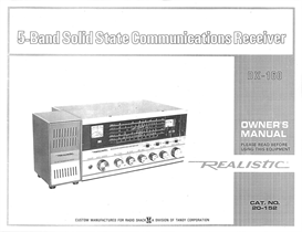 Realistic DX-160 5 Band Solid State Communications Receiver Owner's Manual | Documents and Forms | Manuals