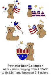 Patriotic Bears (.hus format) - Set of 5 - machine embroidery file | Crafting | Sewing | Holiday and Seasonal