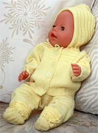 dollknittingpattern - 0057d-hanna  baby jacket, bonnet, pant and socks