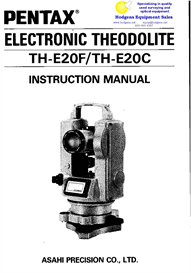 pentax electronic theodolite th-e20c/th-e20f instruction manual
