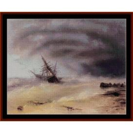 the storm - aivazovsky cross stitch pattern by cross stitch collectibles