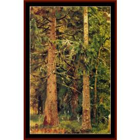firry forest - shishkin cross stitch pattern by cross stitch collectibles