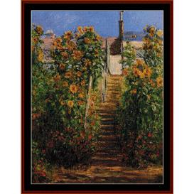 steps at vetheuil - monet cross stitch pattern by cross stitch collectibles