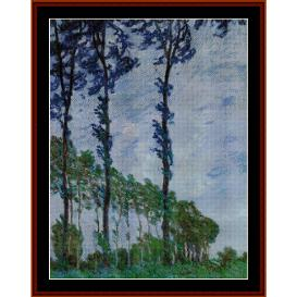 poplars, wind effect - monet cross stitch pattern by cross stitch collectibles