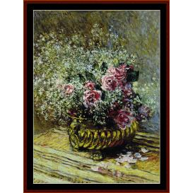 flowers in a pot - monet cross stitch pattern by cross stitch collectibles