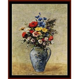flowers in blue vase - redon cross stitch pattern by cross stitch collectibles