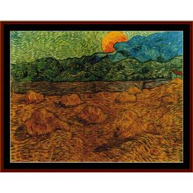 evening landscape w/rising moon - van gogh cross stitch pattern by cross stitch collectibles