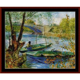 fishing in the spring - van gogh cross stitch pattern by cross stitch collectibles