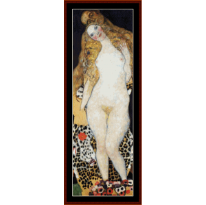 adam and eve - klimt cross stitch pattern by cross stitch collectibles