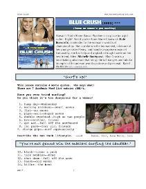 BLUE CRUSH, Whole-Movie English (ESL) Lesson | eBooks | Education