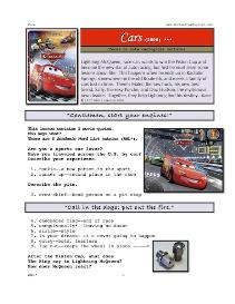 cars,  whole-movie english (esl) lesson