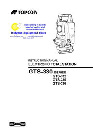 Topcon GTS-330 Series Geodetic Total Station Instruction Manual | Documents and Forms | Manuals
