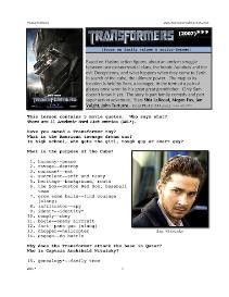 transformers,whole-movie english (esl) lesson
