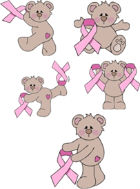 all 5 beary pink ribbon bears - pec & pes format