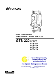 Topcon GTS-220 Series Instruction Manual | Documents and Forms | Manuals