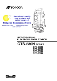 topcon gts-230n series instruction manual