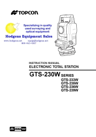 topcon gts-230w series instruction manual