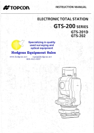 topcon gts-200 series instruction manual