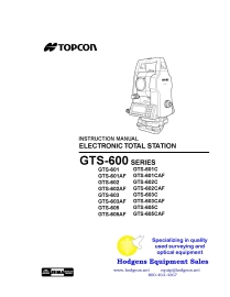 topcon gts-600 series electronic total station instruction manual