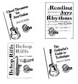 all 4 books (reading jazz rhythms, bebop riffs, chord thesaurus for jazz guitar, and the guitar's guide to technique)