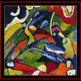 two riders & reclining figure - kandinsky cross stitch pattern by cross stitch collectibles
