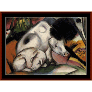 pigs - franz marc cross stitch pattern by cross stitch collectibles