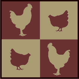 4 square chics & roosters machine embroidery file