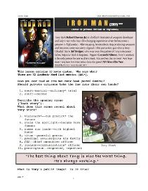 IRON MAN, Whole-Movie English (ESL) Lesson | eBooks | Education