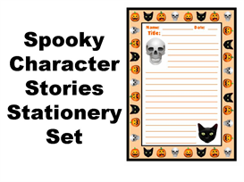 spooky character stories stationery set