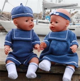 knittingpattern - 0063d niri & vilja - suit with sailman collar, white socks, hat, dress with a seaman collar, pant, hair band