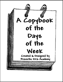 a copybook of the days of the week