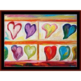 heart shelf - dan scharf cross stitch pattern by cross stitch collectibles