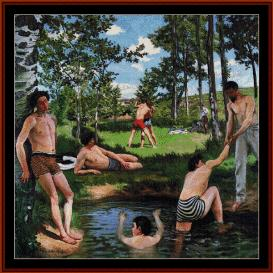 the bathers - bazille cross stitch pattern by cross stitch collectibles