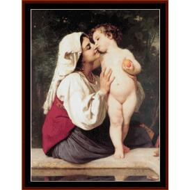 The Kiss - Bouguereau cross stitch pattern by Cross Stitch Collectibles | Crafting | Cross-Stitch | Wall Hangings
