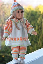 knittingdollpatterns 0064d gitte - pants, dress, hat and shoes
