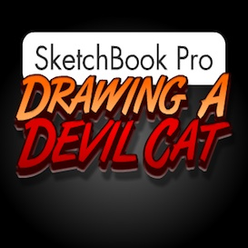 sketchbook pro - drawing a devil cat