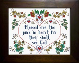 Blessed . Matthew 5:8 | Crafting | Cross-Stitch | Religious