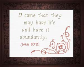 Life Abundantly - John 10:10 | Crafting | Cross-Stitch | Religious
