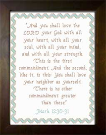 Love The LORD - Mark 12:30-31 | Crafting | Cross-Stitch | Other
