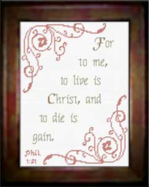 To Live is Christ  - Chart | Crafting | Cross-Stitch | Religious