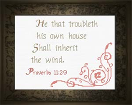 he that troubleth - proverbs 11:29 - chart