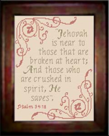 Jehovah is Near - Psalm 34:18 | Crafting | Cross-Stitch | Other