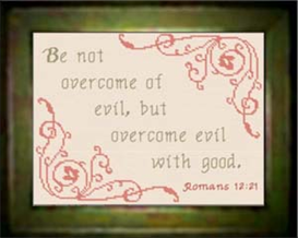Overcome Evil Chart | Crafting | Cross-Stitch | Religious