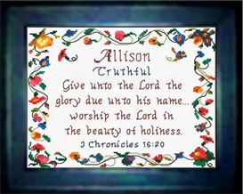Name Blessings - Allison - Chart | Crafting | Cross-Stitch | Religious