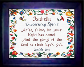name blessings - isabella - chart