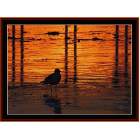 bird at sunset - wildlife cross stitch pattern by cross stitch collectibles