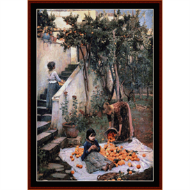 orange gatherers - waterhouse cross stitch pattern by cross stitch collectibles